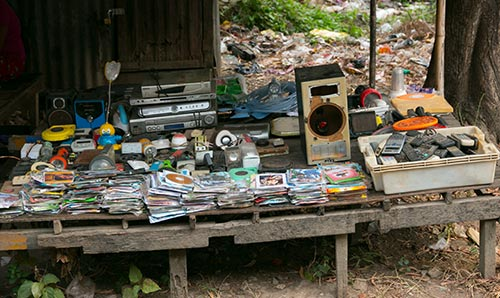 Electronic goods for sale on a market stall